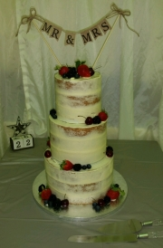 Semi naked fresh fruits wedding cake