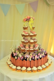 Rose cupcake  wedding tower